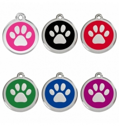 Red Dingo Stainless Steel Enamel Engraved Pet Tags - Pawprint
