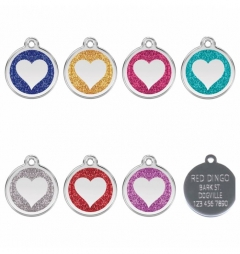 Red Dingo Stainless Steel and Glitter Engraved Pet Tags - Glitter Heart