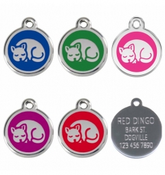 Red Dingo Stainless Steel Enamel Engraved Curled Cat ID Tag
