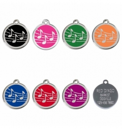 Red Dingo Stainless Steel Enamel Engraved Pet Tags - Music
