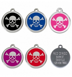 Red Dingo Stainless Steel Enamel Engraved Pet Tags - Skull