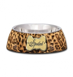Loving Pets Leopard Print 'Spoiled' Dog Bowl - MULTIBUY SPECIAL OFFER