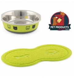 Fusion Cat Bowl and Cat Paw Feeding Mat - Lime Green