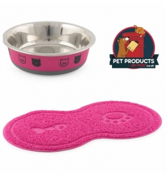 Fusion Cat Bowl and Cat Paw Feeding Mat - Fushia Pink