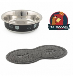 Fusion Cat Bowl and Cat Paw Feeding Mat - Grey