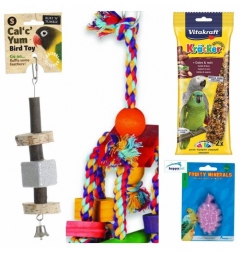 Parrot Mineral, Treat and Toy Bundle/Gift Set
