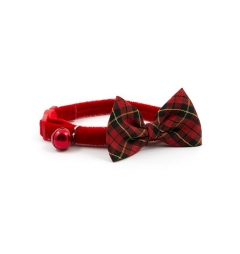 Tartan Vintage Bow Safety Cat Collar